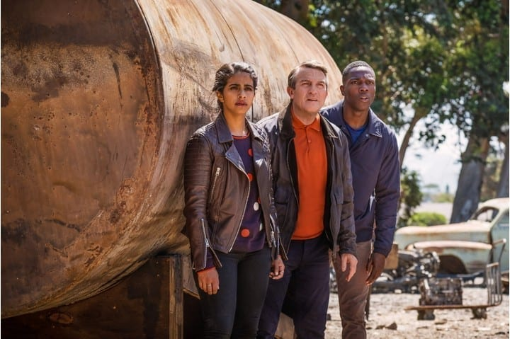 Mandip Gill, Bradley Walsh and Tosin Cole in Doctor Who series 11 (BBC)