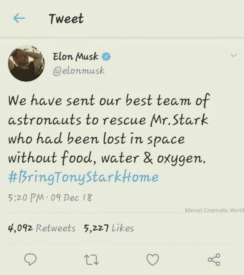 elon musk tweet avengers