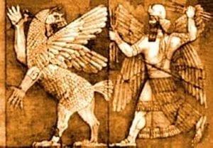 Una rappresentazione dello scontro tra Marduk e Tiamat