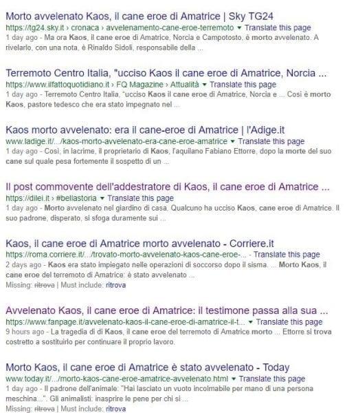 i titoli dei giornali su Kaos
